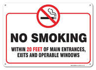 "No Smoking Within 20 Feet Of Building Sign, Large 10x14"" Aluminum, For Indoor or Outdoor Use - By SIGO SIGNS - Sigo Signs"