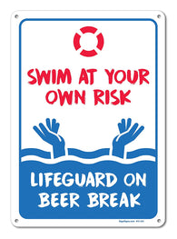 "Pool Signs - Swim At Your Own Risk Pool Sign - Pool Rules - Large 10 X 14"" Aluminum, For Indoor or Outdoor Use - By SIGO SIGNS - Sigo Signs"