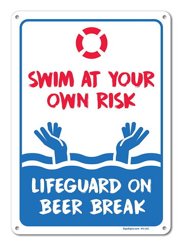 Pool Signs - Swim At Your Own Risk Pool Sign - Pool Rules ...