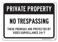 "No Trespassing Sign - Private Property Sign, Large 10x14"" Aluminum, For Indoor or Outdoor Use - By SIGO SIGNS"