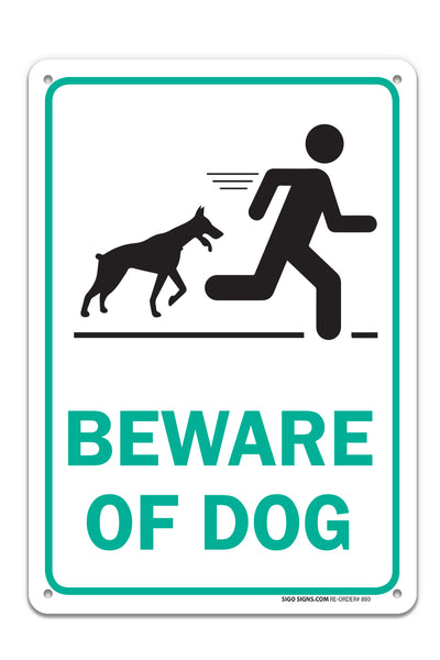 Beware of Dog Sign, Large 14 X 10 Aluminum, for Indoor or Outdoor Use - USA Made of Rust Free Aluminum-UV Printed with Professional Graphics by SIGO SIGNS - Sigo Signs