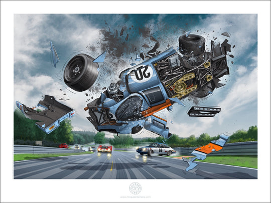 Art Print 80 x 60 cm - Porsche #20 flying in the air