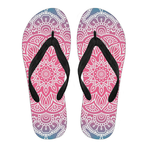 Mandala Custom Printed Flip Flops - Multiple Colors and Styles-theyogasuite