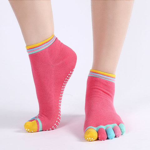 """Enjoy Yoga"" Non-Slip Five Toe Separator Socks-theyogasuite"
