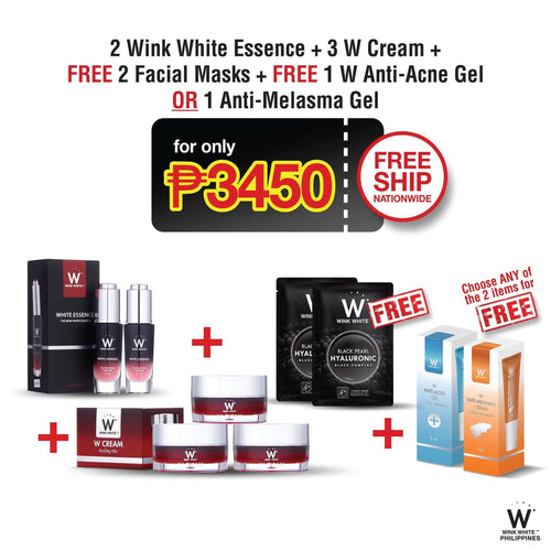 2 White Essence, 3 W Cream, free 2 Facial Masks, Free 1 Anti-Acne Gel or 1 Anti-Melasma Gel
