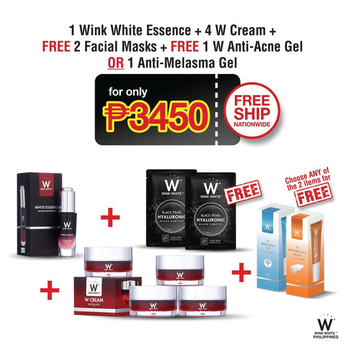 1 White Essence, 4 W Cream, free 2 Facial Masks, Free 1 Anti-Acne Gel or 1 Anti-Melasma Gel