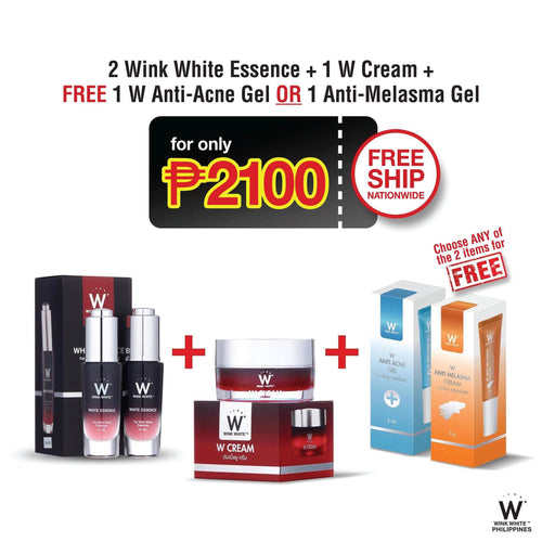 1 W Cream, 2 White Essence, Free 1 Anti-Acne Gel or 1 Anti-Melasma Gel