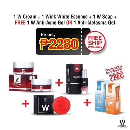 2 W Cream, 1 White Essence, 1 W Soap, FREE 1 Anti-Acne Gel or 1 Anti-Melasma Gel