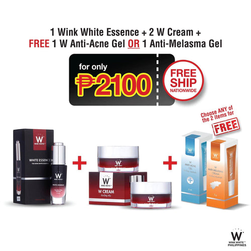 1 White Essence, 2 W Cream, Free 1 Anti-Acne Gel or 1 Anti-Melasma Gel