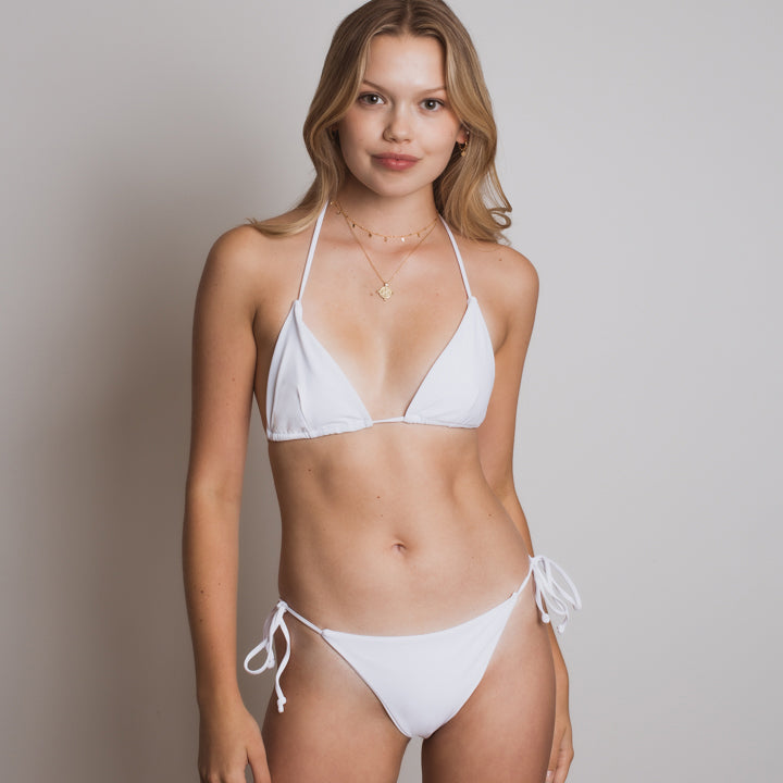 Amelia Triangle Bikini Bottom in White