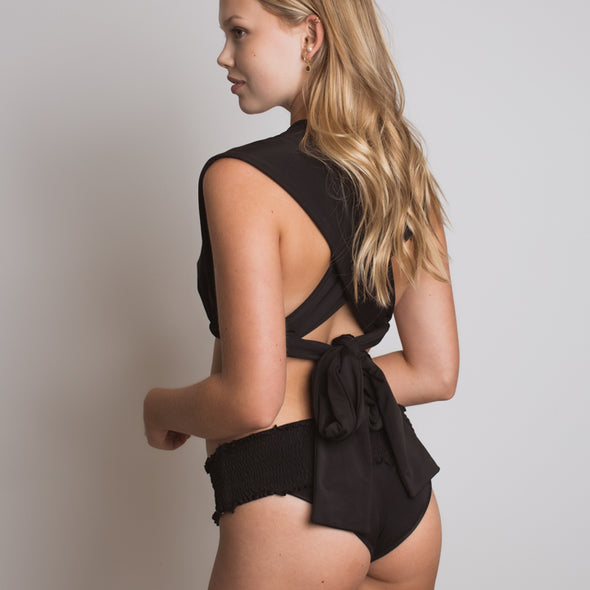 Alexandra Smocked Bottoms in Black