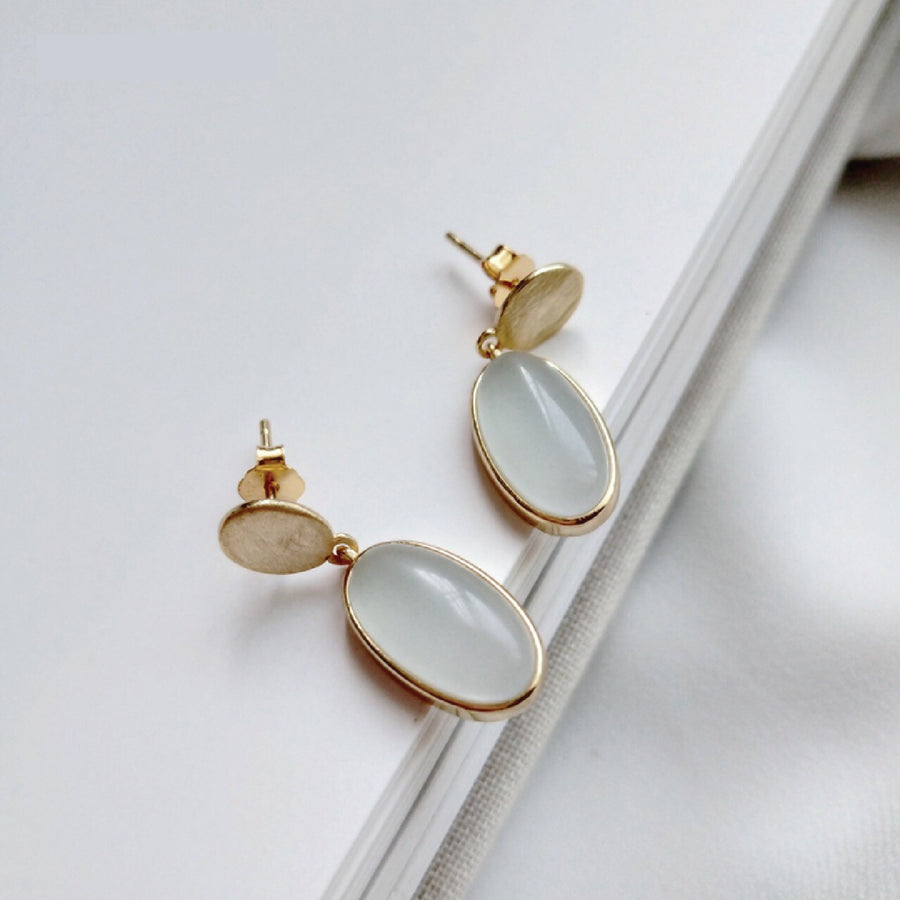 OVAL NATURAL STONE DROP EARRINGS - Scada Australia