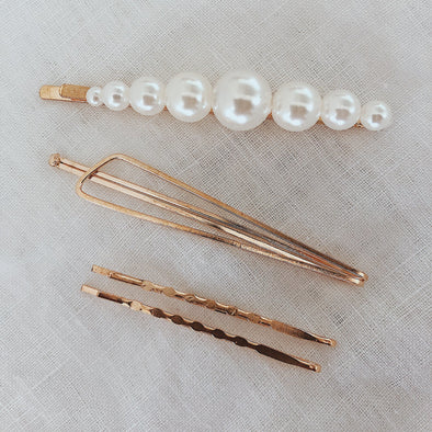 GOLDEN PEARL HAIR SLIDER SET - Scada Australia