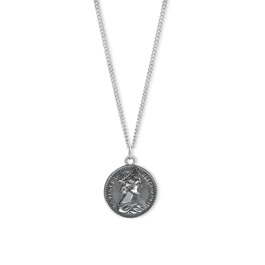 ANDROS ANTIQUE SILVER COIN NECKLACE - Scada Australia