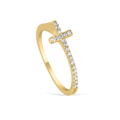UNITY CROSS ZIRCONIA RING