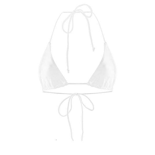 Francesca Triangle Bikini Top in White