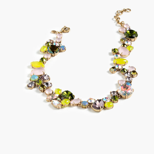 Colorful crystal foliage necklace