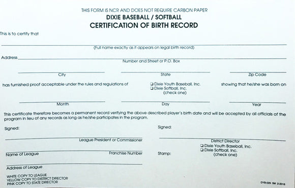 51Y - Birth Certification Record