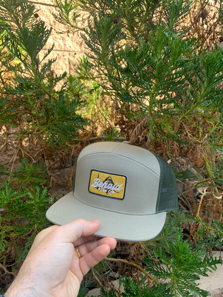"""The Beholder"" Khaki + Olive 7-Panel Snapback"