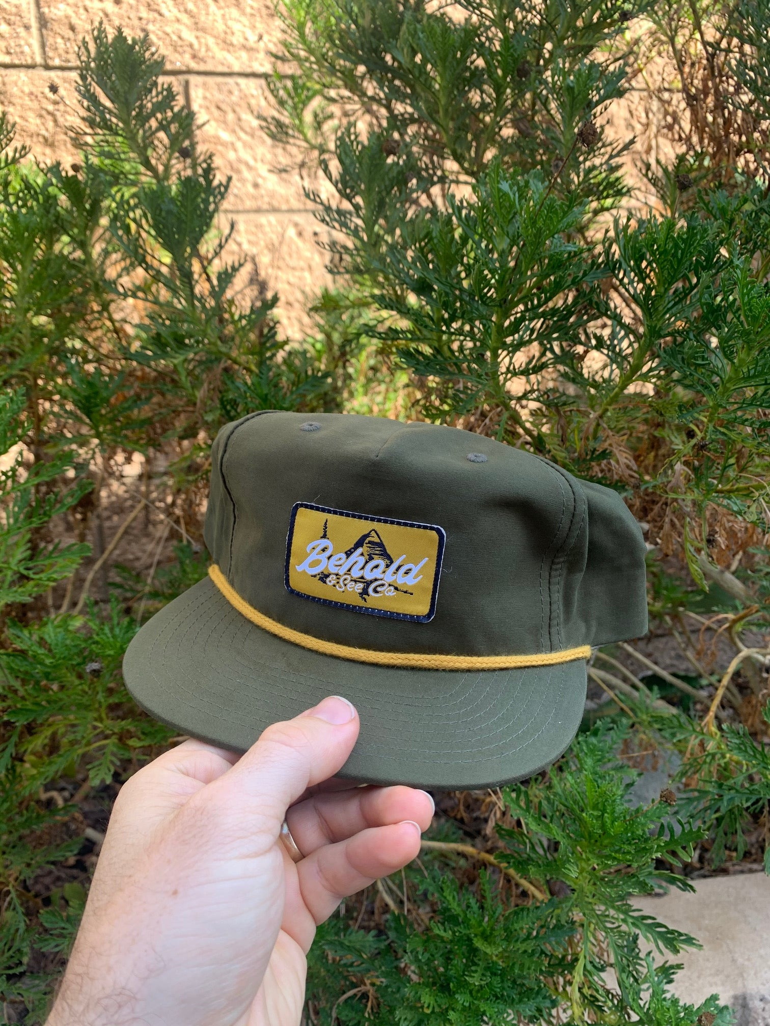 """The Beholder"" Olive + Gold 5-Panel Snapback Cap"