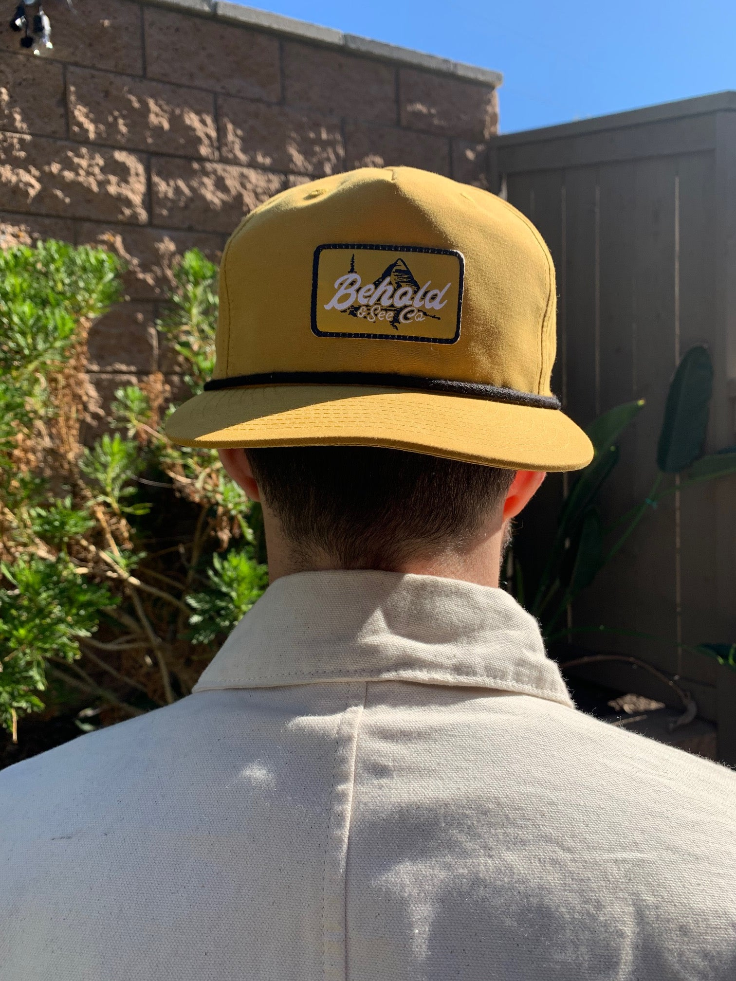 """The Beholder"" Mustard Yellow + Black 5-Panel Snapback Cap"