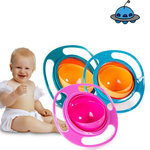 Non Spill Feeding Toddler Gyro Shape Bowl 360 Rotating- Avoid Food Spilling Bowl