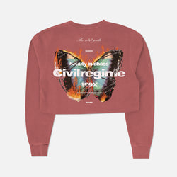 (S.I.N.) Beautiful Chaos Cropped Crewneck in Crimson