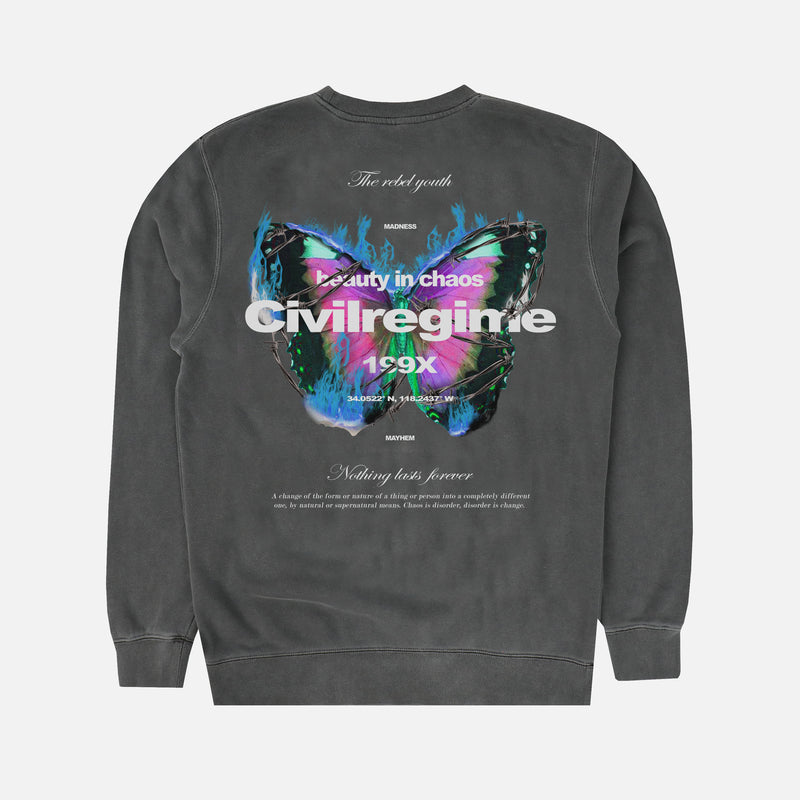 (S.I.N.) Beautiful Chaos Crewneck in Pepper