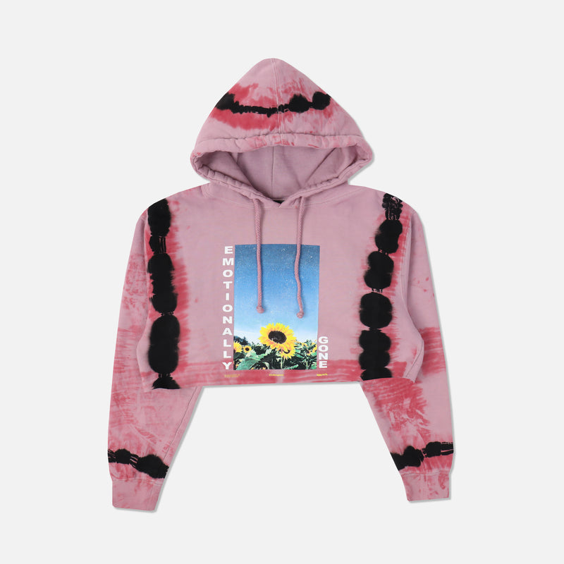 Emotionally Gone (Cropped) Hoodie in Red Dreams Wash