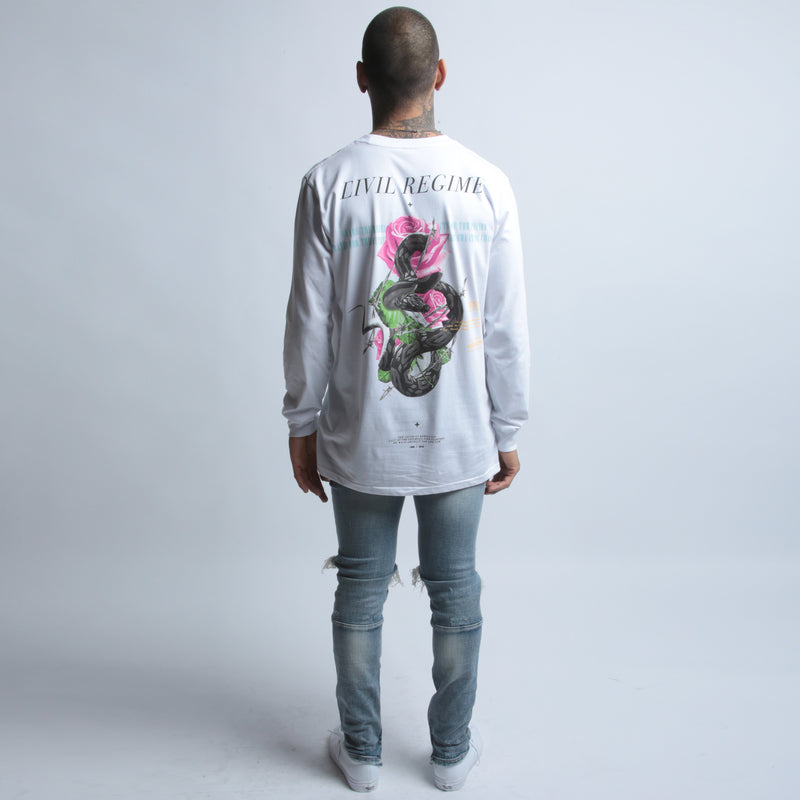 Snake Pit (LS) Tee in White
