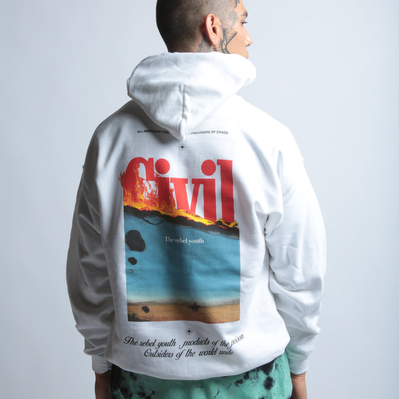 Let It Burn Hoodie in White
