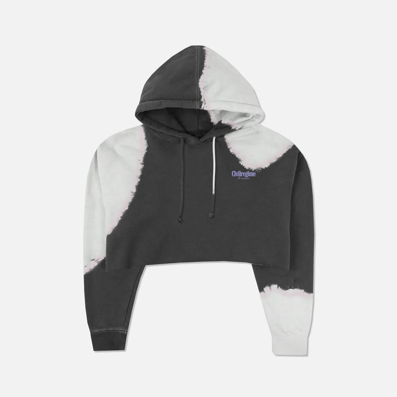 Bloom Forever (Cropped) Hoodie in Black 99 Wash