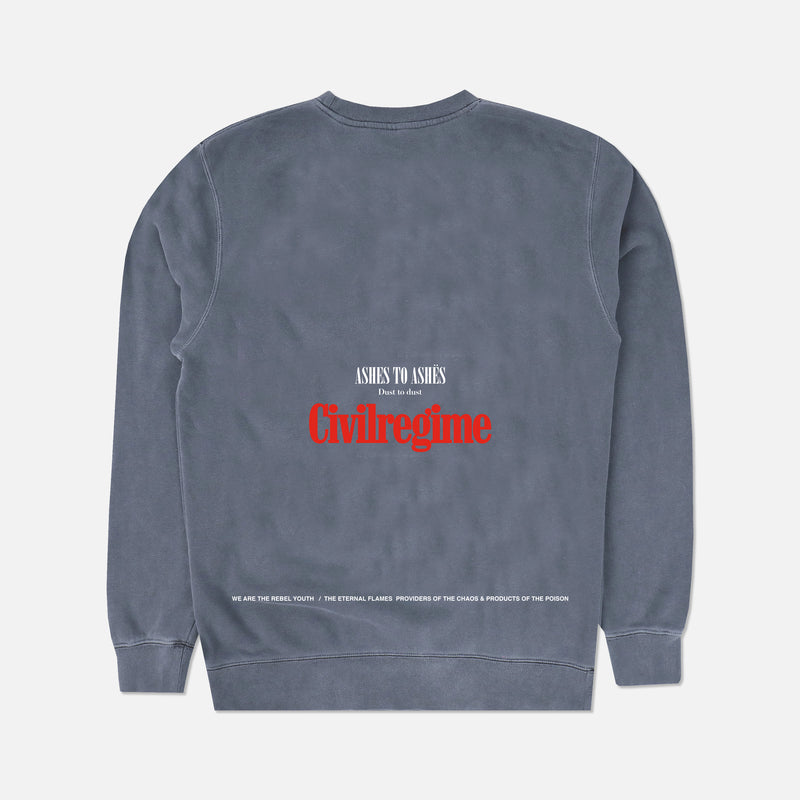 Ashes To Ashes Crewneck in Denim Blue