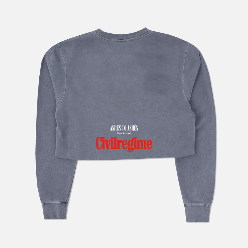 Ashes To Ashes (Cropped) Crewneck in Denim Blue