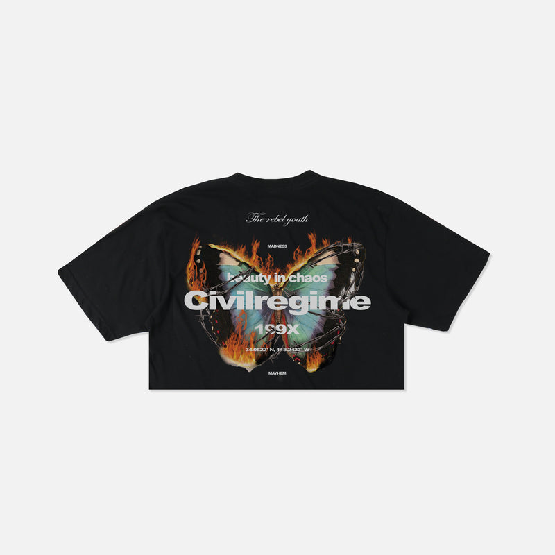 (S.I.N.) Beautiful Chaos Cropped Tee in Black