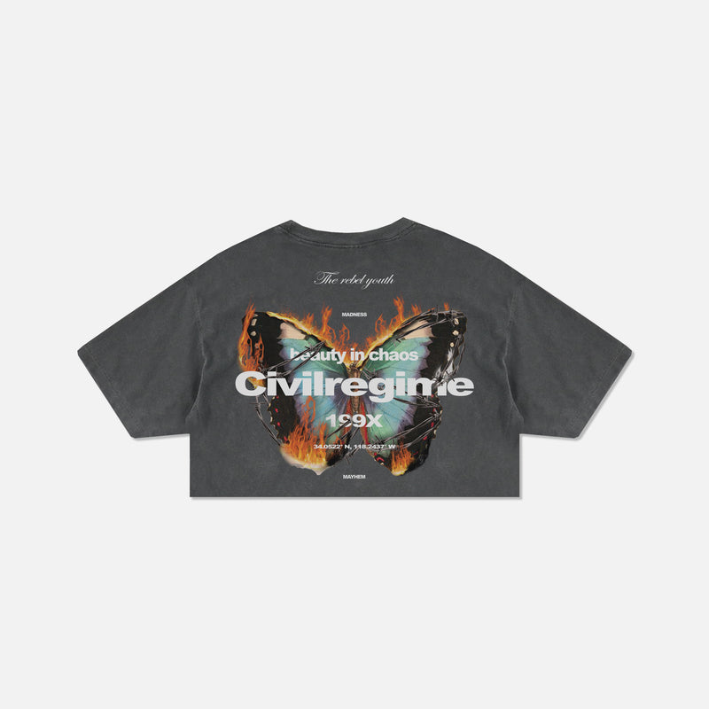 (S.I.N.) Beautiful Chaos Cropped Tee in Pepper