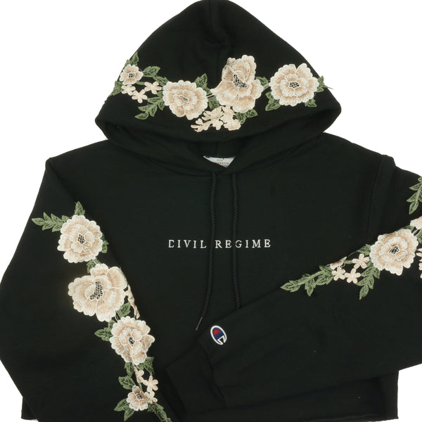 Champion Blanco Roses (Cropped) Hoodie in Black