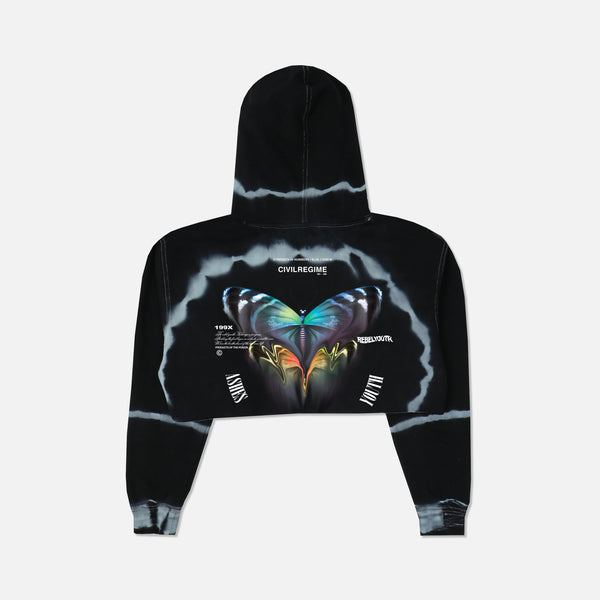 (S.I.N.) Meta Fade (Cropped) Hoodie in Dark Moon Wash