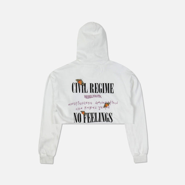 No Feelings (Cropped) Hoodie in White