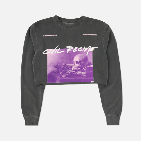Eternal Oblivion (Crop) Crewneck in Pigment Gray