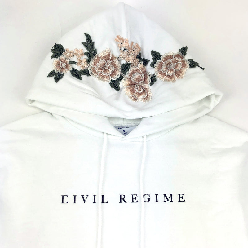Champion Blanco Roses (Cropped) Hoodie in White