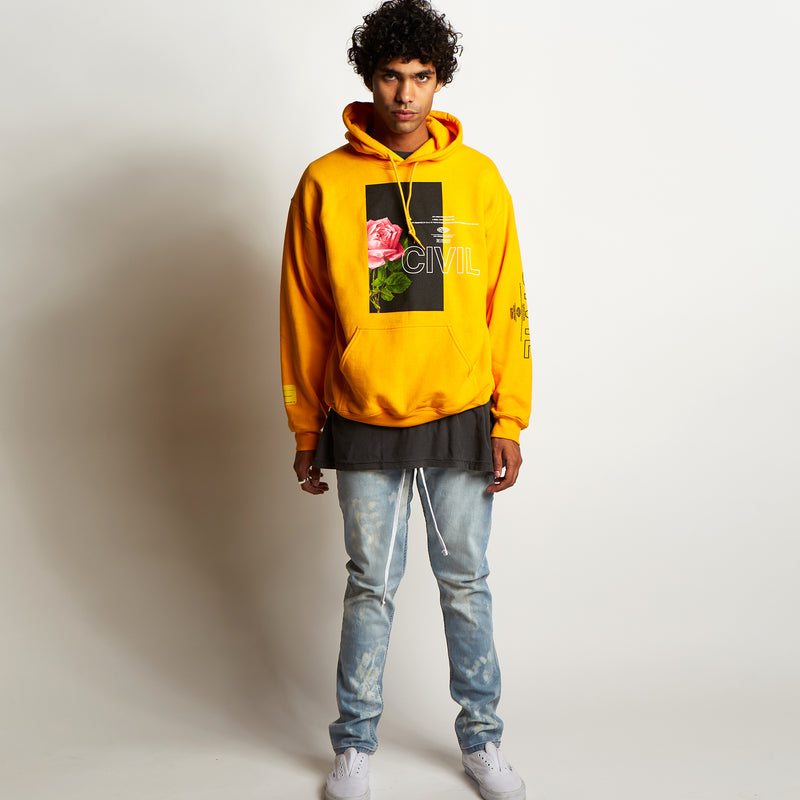 Bloom Box Pullover Hoodie In Gold
