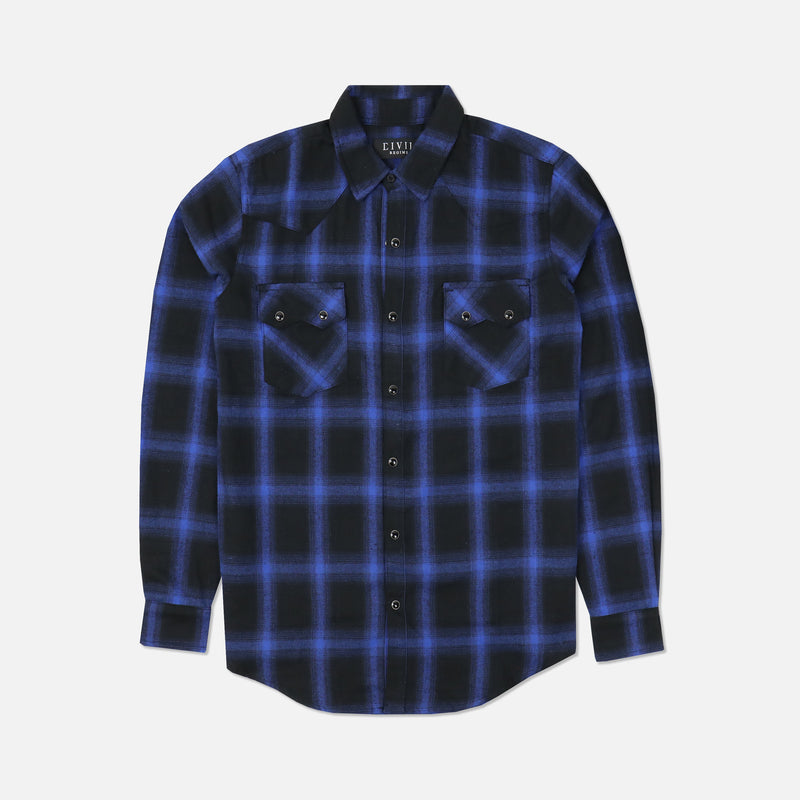 Wild West Flannel in Black/Blue