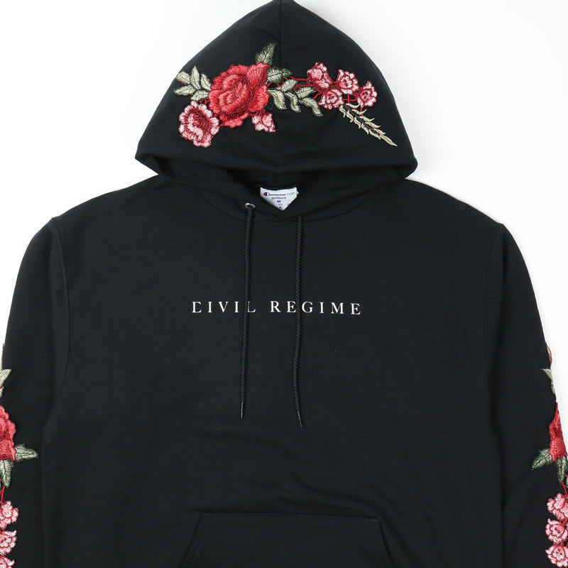 Champion (Red) Roses Hoodie in Black (RELEASING 8/16/20)