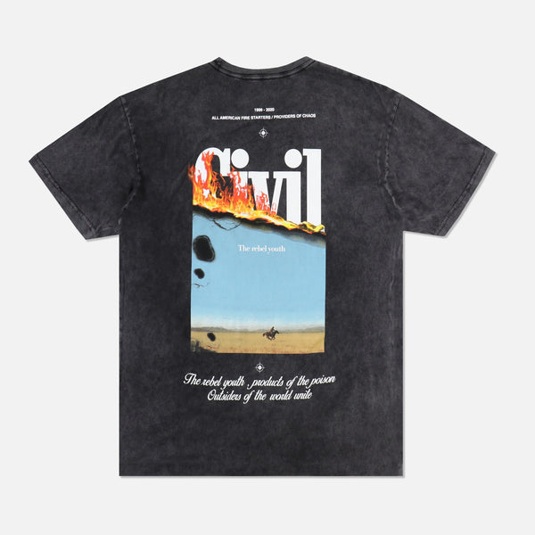 Let It Burn Tee in Vintage Black