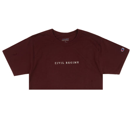 Cropped Champion Civil Embroidered Tee in Maroon