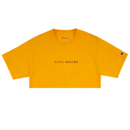 Cropped Champion Civil Embroidered Tee in Yellow