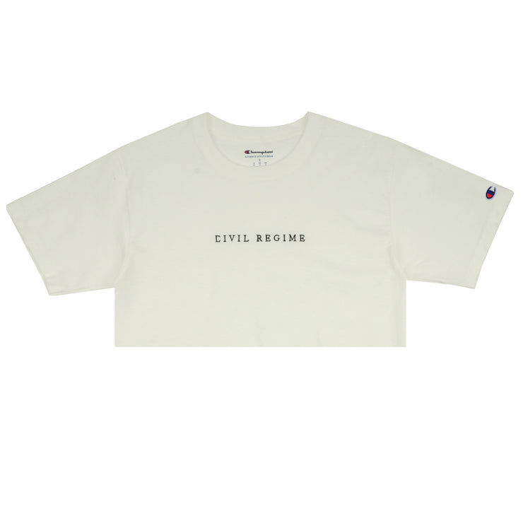 Cropped Champion Civil Embroidered Tee in White