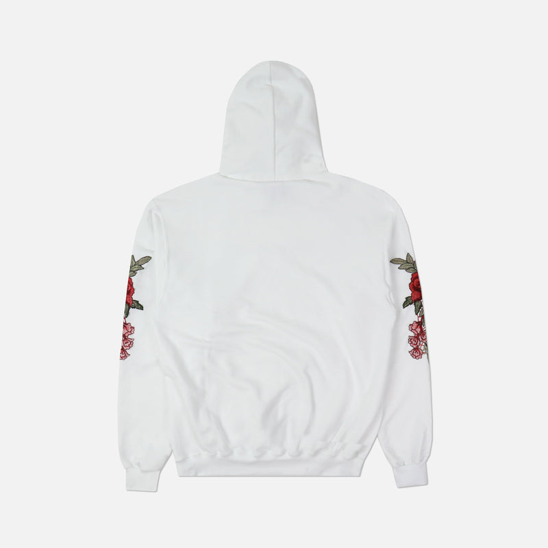 Champion (Red) Roses Hoodie in White