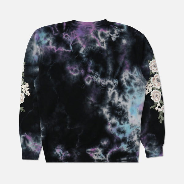 Blanco Roses Crewneck Sweater in Thunder Wash